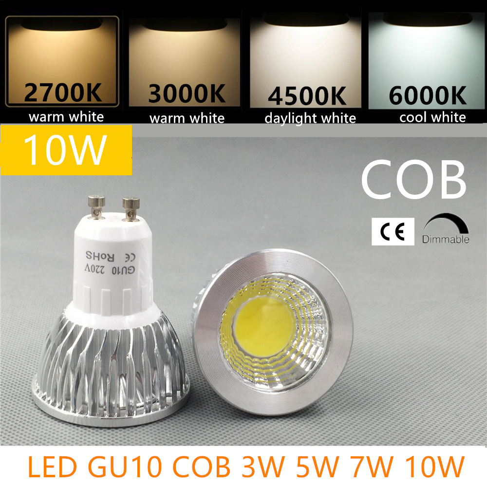 12W LED Bulb LED GU10 COB MR16 Dimmable 2700K 3000K Warm White 3W 5W 7W 10W Replace Halogen Lamp Energy Saving Lamp
