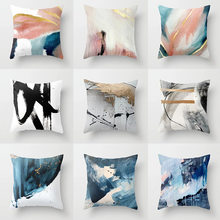 Abstract Art Painting Decorative Throw Blue Pillow Cushion Covers for Couch Sofa Chair Living Room Home Decoration Accessories(China)