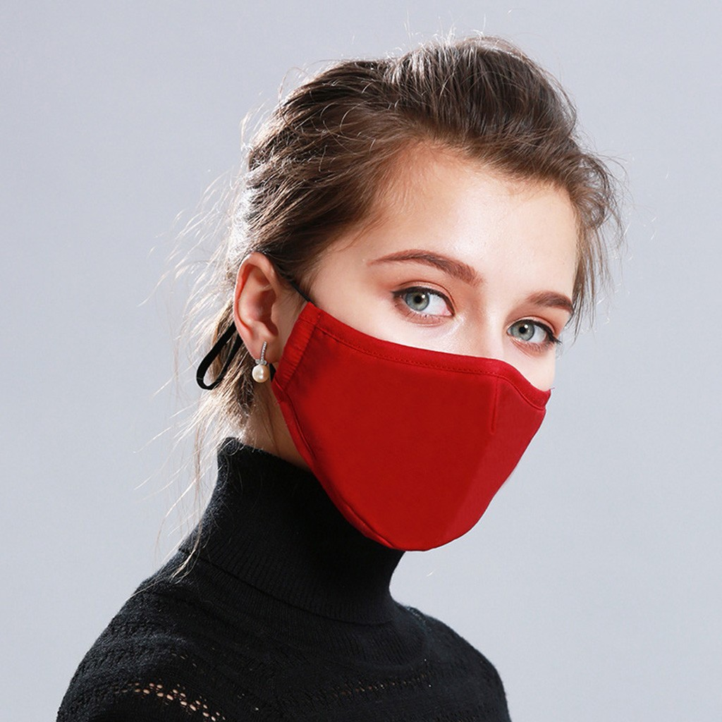 #H30 1pc Cotton Red Mask Mouth Face Mask Anti PM2.5 Dust Mouth Mask 2pcs Activated Carbon Filter Cotton Fabric Face Mask