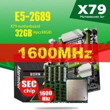 Atermiter X79 Turbo Motherboard LGA2011 ATX Combos E5 2689 CPU 4 stücke x 8GB = 32GB DDR3 RAM 1600Mhz PC3 12800R PCI E NVME M.2 SSD