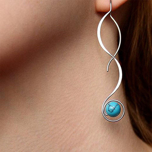 Huitan Fashion Wave Shape with Blue Resin Stone Women Earring Delicate Design Wedding Engagement Party Girl Drop Earring Jewelry