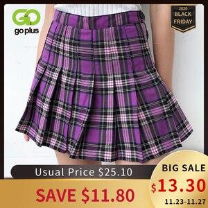 Image 1 - 女性のスカート韓国風ハイウエストプラスサイズ原宿aラインプリーツチェック柄ミニ女性のスカートmujer段faldas mujerモーダ2020