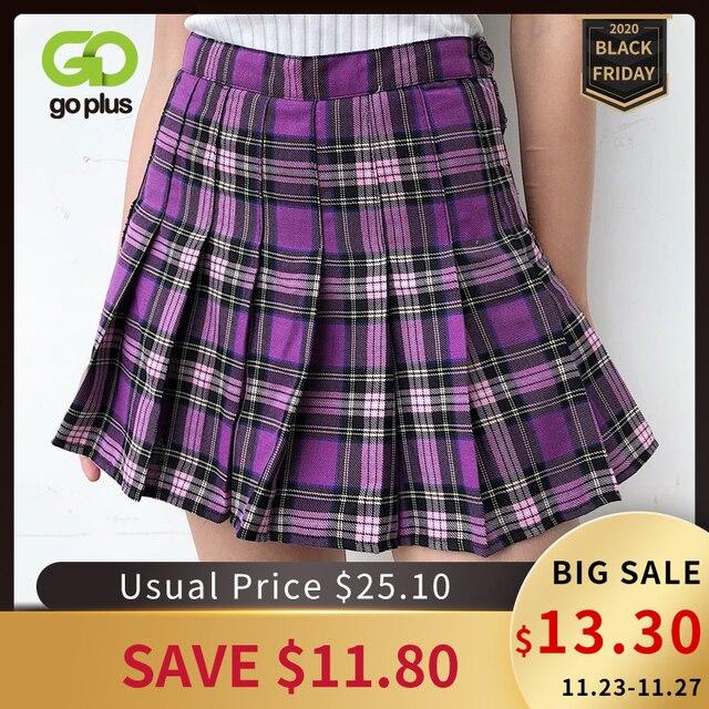 女性のスカート韓国風ハイウエストプラスサイズ原宿aラインプリーツチェック柄ミニ女性のスカートmujer段faldas mujerモーダ2020