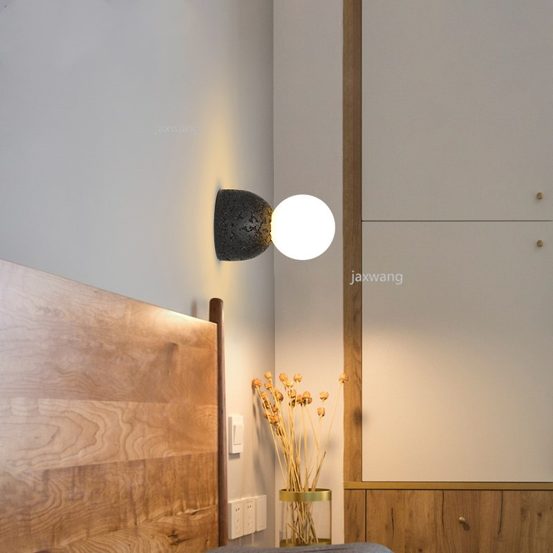 Modern Led Wall Light Lamps Step Stair Round Moon Glass Ball Wall Lamp Sconce Home Bedroom Foyer New Fashion Wall Lamps