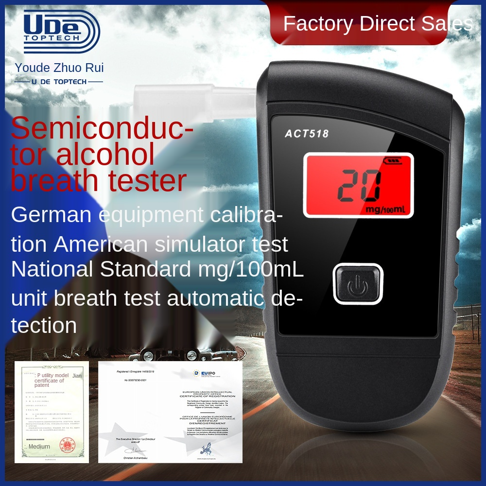 Alcohol Tester Blowing Portable Alcohol Detector High Sensitivity Semiconductor Sensor To Test Alcohol Concentration