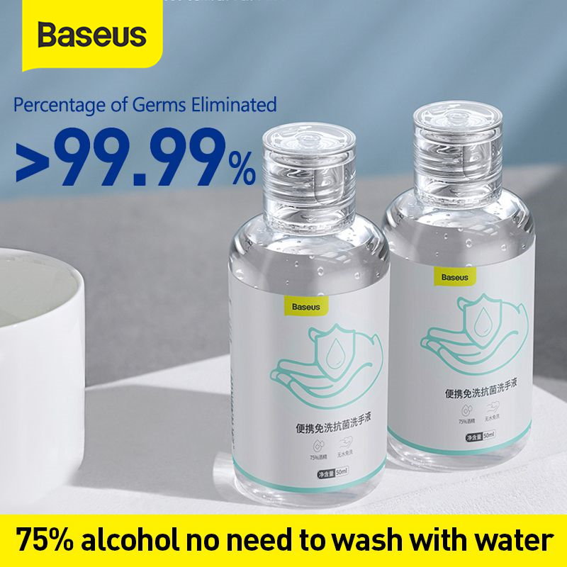 Baseus 50ml Portable Hand Sanitizer Antibacterial Moisturizing Liquid Quick-Dry Wipe Out Hand Sanitizer Gel Rinse Free Sanitizer