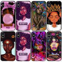 Afro chicas melanina reina Poppin mujeres teléfono caso para iPhone 11 pro 12 mini Max 8 Plus 7 6 6 X S X XS 5 5s SE 2020 Xr TPU cubierta suave