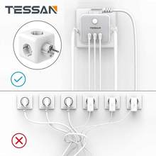 TESSAN EU Wall Socket Power Strip with 3 USB Ports + 3 Sockets Overload protection 6-in-1 Socket on/off Switch EU Plug