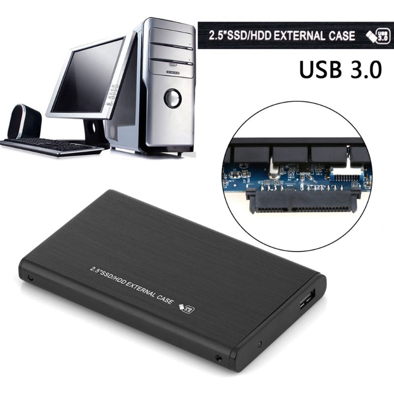 Quality <font><b>2.5</b></font> inch SATA3.0 to <font><b>USB</b></font> <font><b>3.0</b></font> Enclosure Aluminum Alloy hd <font><b>externo</b></font> <font><b>Case</b></font> <font><b>HDD</b></font> hard drive cartridge sata external cover Black image