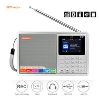 GTMEDIA D2 2.4inch Bluetooth Battery Powered FM DAB+ Portable Radio Multi Band LCD Display Stereo Support Micro SD TF Card