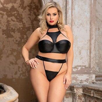 Sexy 2 Piece Lingerie Set Strapless Leather Choker Black Plus Size #F1625 1