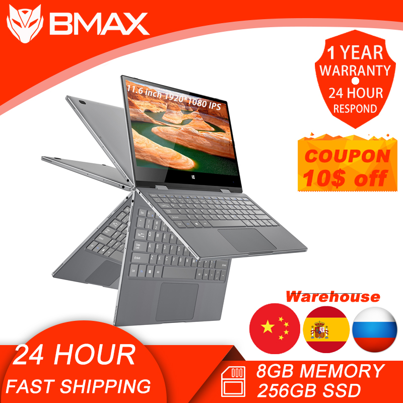 BMAX Y11 Laptop 11 6 Inch Quad Core N4120 1920 1080 IPS Screen 8GB LPDDR4 RAM 256GB SSD ROM Notebook Windows10  System