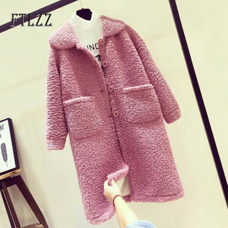 New autumn winter fashion wool coat women loose Single breasted medium long coat ladies faux lamb fur outerwear mujer