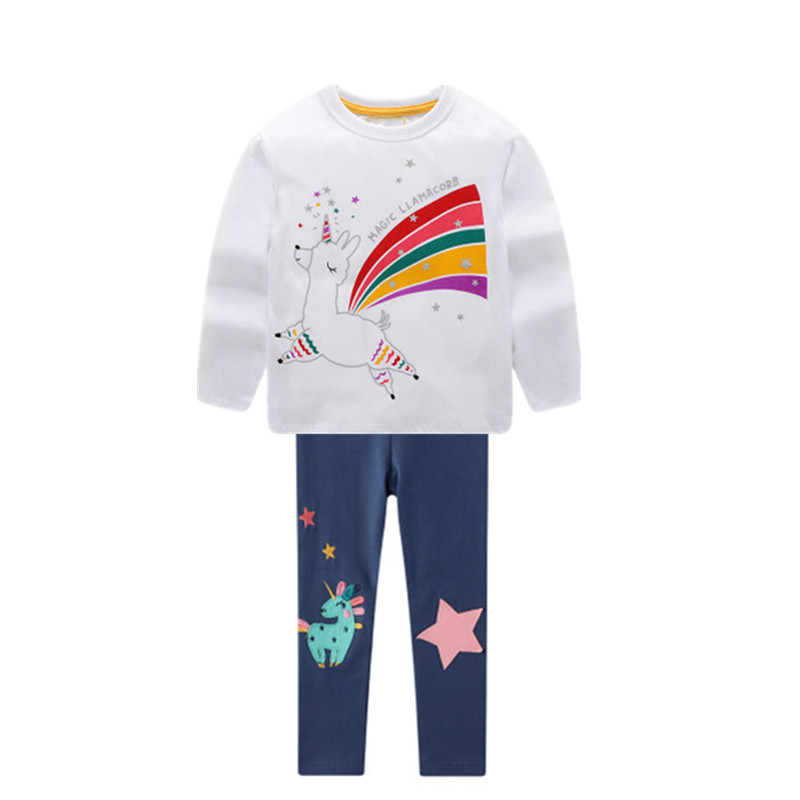 VIDMID girls cotton clothing set kids cartoon t-shirt and pants baby girls long sleeve clothing suits children clothes sets W01 3