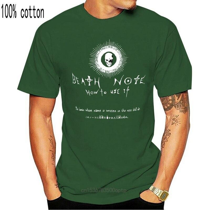Death Note как Применение It для мужчин черная футболка для мужчин футболка отличное качество Забавный человек из хлопка; Одежда с овальным вырез...