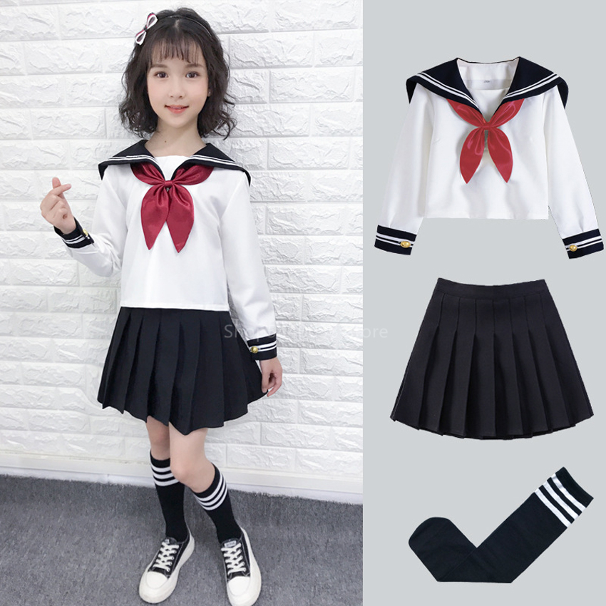 Kid JK Sailor Dress 4PCS Girl Japanese Korean Orthodox School Uniform Pleated Skirt Navy Long Short Sleeve Kawaii Suit Anime COS