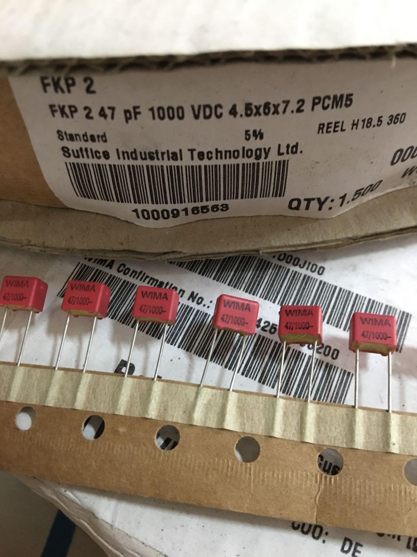 20PCS NEW RED WIMA FKP2 47PF 1000V 5% P5MM Audio Film Capacitor 47P/1KV Hot Sale DIY FKP-2 47P 1KV P5MM 47PF/1000V PCM5