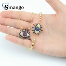 Wholesale Copper Micro Pave 2colors CZ Eyes Shape Charm Bracelet In Gold Colors Top Quality Plating of 5 Pcs,B0066