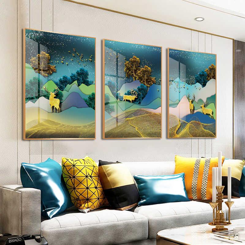 3 パネル HD カラフルな森林鹿動物キャンバスプリントクリエイティブ絵画家の装飾リビングルーム非フレーム用