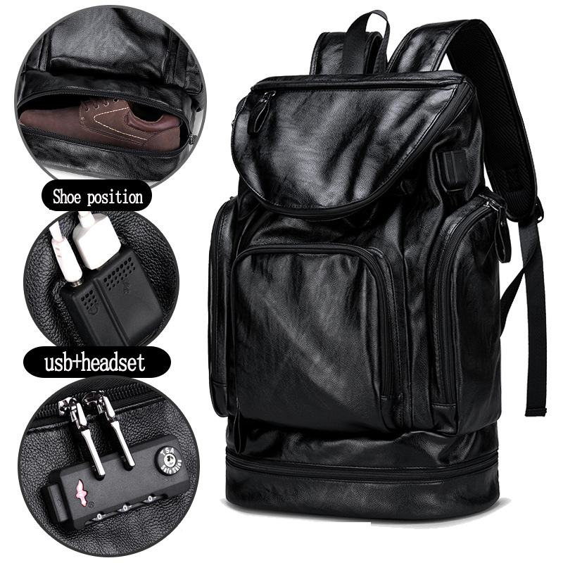 Men PU leather Backpack with shoes position external headphone hole USB charging anti theft travel bag with insulation function City Jogging Bags    - title=