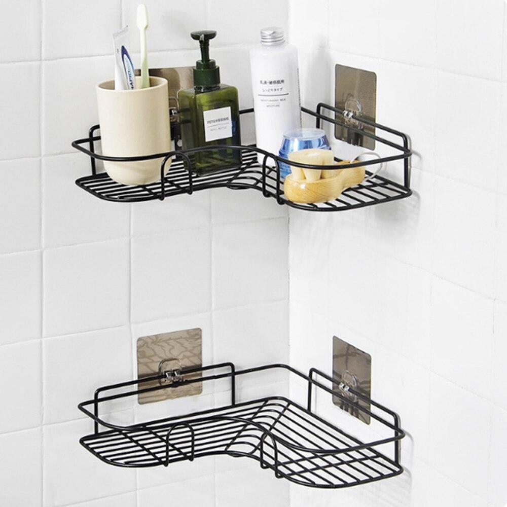 Bathroom Shelf Metal Shelf Wrought Iron Storage Rack Punch-Free Firm Shower Kitchen Fitted Wall Storage Organizer Rack