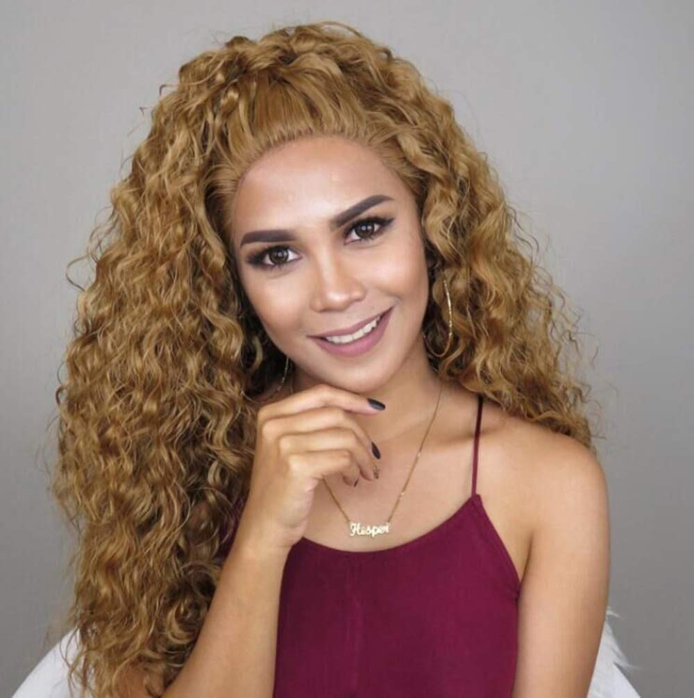 Fantasy Beauty Free Parting Natural Long Loose Curly Black Red Sliver Gold Blonde High Temperature Synthetic Lace Front Wig