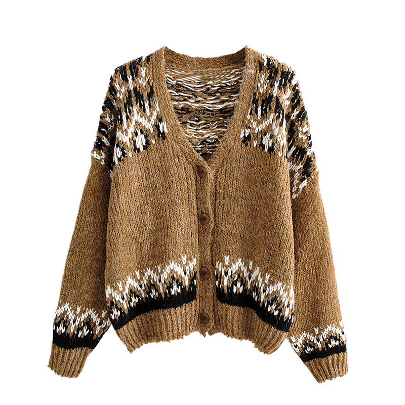 Female Sweater Cardigan Coat Loose Print Knitted Buttons Coats  Women Long Sleeve Winter Warm Sweater Overcoat  V Neck Jumper