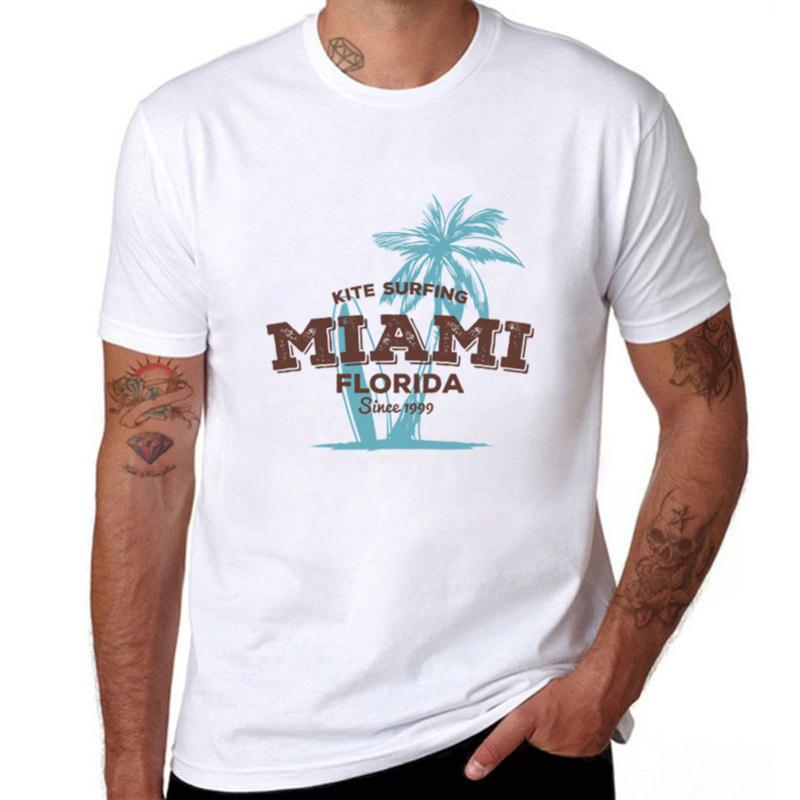 2019 Miami Florida Summer Men T-shirt Fashion Kite Plam Tree Top Tees Style O-neck Short Sleeve T Shirt