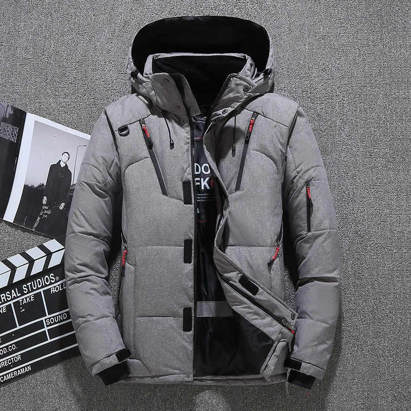 2019 зимний мужской пуховик, куртка, пальто, Мужская Короткая Толстая ветрозащитная парка с капюшоном, зеленый черный синий серый оранжевый M-3XL