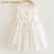 אהבה DD & MM בנות שמלות 2020 ילדים חדשים בגדים מתוק בעלי החיים פלמינגו רקום פאייטים רשת נסיכת שמלת ילדה 3 8 שנים