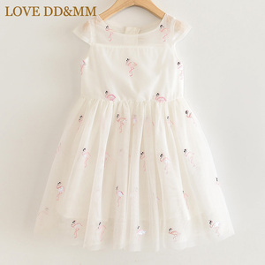 Image 1 - LOVE DD&MM Girls Dresses 2020 New Kids Clothing Sweet Animal Flamingo Embroidered Sequins Mesh Princess Dress For Girl 3 8 Years