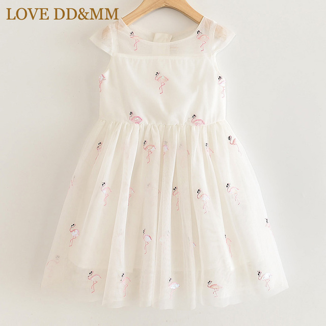 LOVE DD&MM Girls Dresses 2020 New Kids Clothing Sweet Animal Flamingo Embroidered Sequins Mesh Princess Dress For Girl 3 8 Years