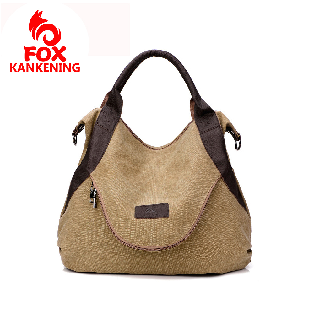 FOX KANKENING Large Pocket Casual Tote 2019 Women's Handbag Shoulder Crossbody Handbags Canvas Leather Capacity Bags For Women image