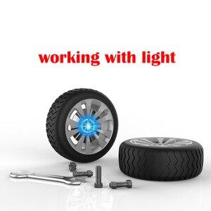 Image 4 - 4 ピース/セットホイールハブライトカーアクセサリー磁気サスペンション led フローティングホイールキャップ照明ハブキャップライト