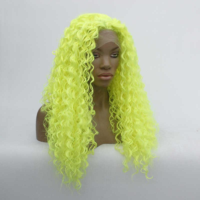 Cosplay peruca dianteira do laço sintético neon amarelo profundo encaracolado resistente ao calor fibra de alta qualidade peruca de fibra sintética