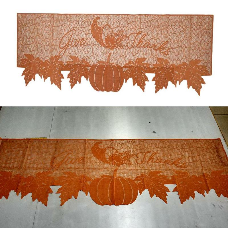 Christmas Family Party Orange Tablecloth Thanksgiving Autumn Harvest Harvest Pumpkin Vine Table Flag Yellow Lace Table Flag
