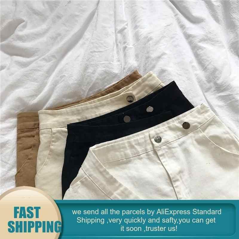 Unregelmäßigen Patchwork Sexy frauen Denim Röcke Shorts Einreiher Breite Bein Weiß Hot Shorts Denim Kurzen Feminino Jeans Rock