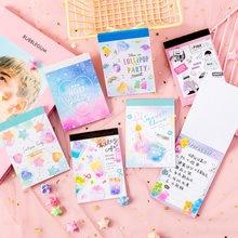 Kawaii tęcza cukierki notatnik kreskówka wiadomość notatki dekoracyjne notatnik karteczki do notowania Memo papiernicze artykuły biurowe