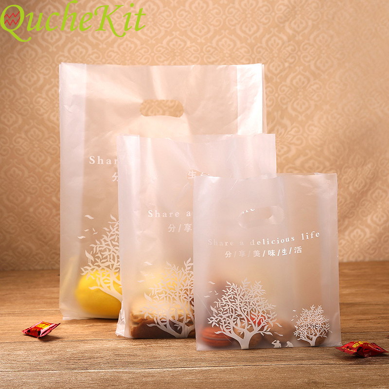 100pcs Share A delicious Life <font><b>Plastic</b></font> <font><b>Gift</b></font> <font><b>Bag</b></font> Cloth <font><b>Plastic</b></font> Shopping <font><b>Bag</b></font> <font><b>With</b></font> <font><b>Handle</b></font> Party Wedding Valentine Days <font><b>Gift</b></font> Wrapping image