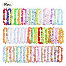 50PCS Hawaiian Wreath Party Beach Tropical Flower Necklace Luau Petal Leis Festival Decorations Wedding Supplies
