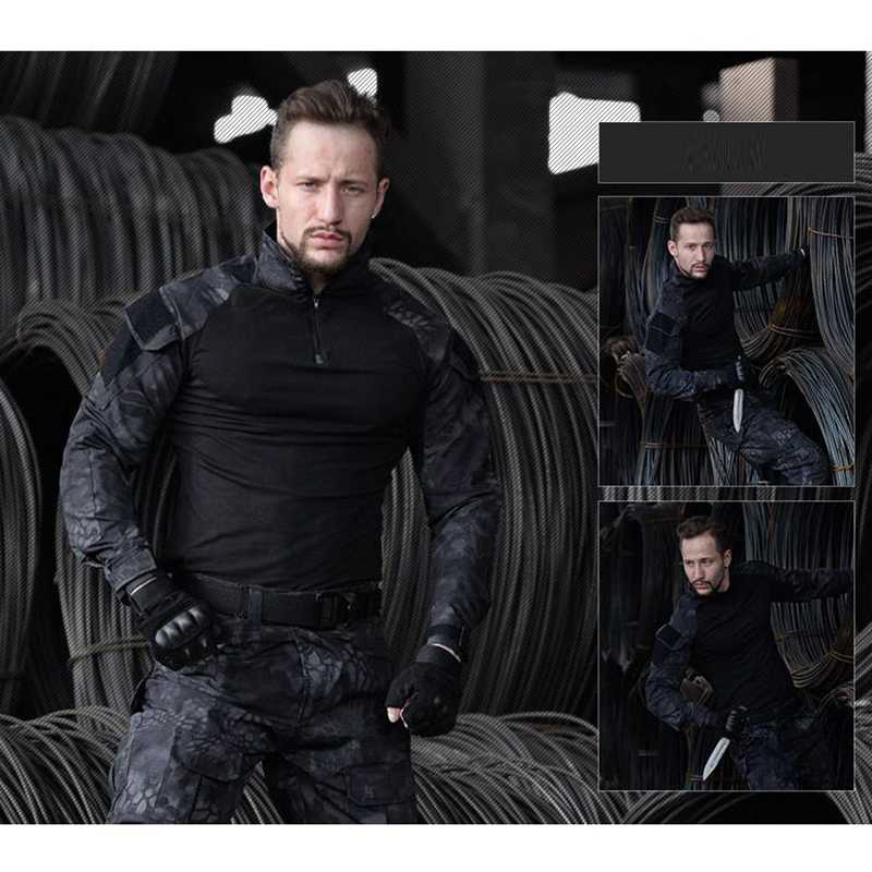 米軍マルチカム戦闘迷彩シャツ軍服シャツパンツ戦術エアガンスポーツ狩猟服膝パッド