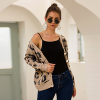 Single Breasted V Neck Female Knit Sweaters Leopard Sexy Cardigans Sexy Printing Winter Autumn Women Knit Sweaters S/XL D577