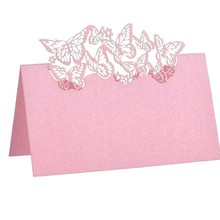 50pcs/set White Laser Cut Butterfly Seats Card Hollow Table Wedding Invitation Invitations Paper Post