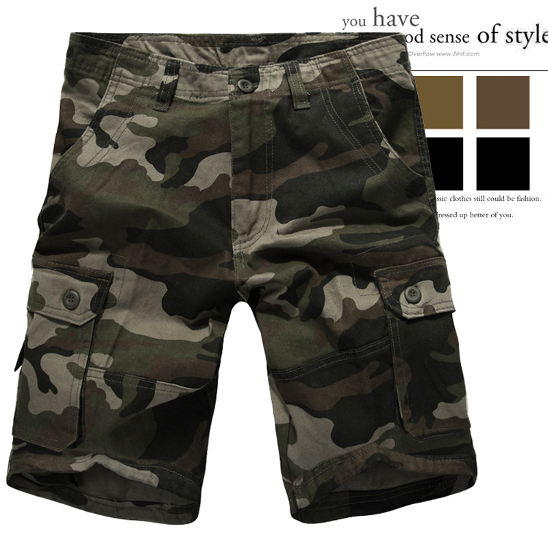 2019 New Style Europe And America Hot Selling Multi-pockets Camouflage Middle Pants Work Clothes Middle Pants Large Size Shorts