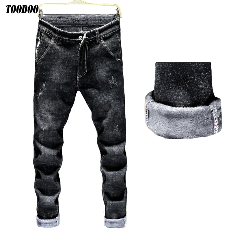 2020 New Slim Cut Warm Men Jeans Soft Denim Fabric With Micro Fleece Classic Man Denim Pants Male Jeans For Winter Autumn
