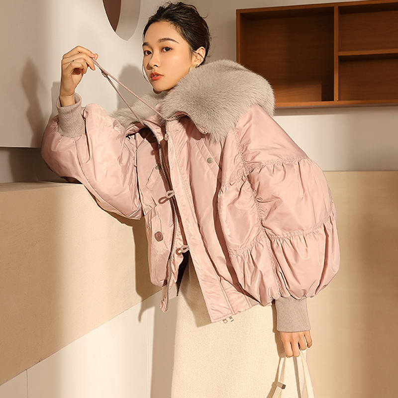 Large Natural Fox Fur Collar Hooded 2019 White Duck   Down   Jacket Loose Short   Down     Coat   Winter Jacket Women Thick Female Parkas