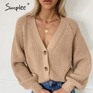 Image 4 - Simplee סקסי צווארון v סרוג נשים קרדיגן מזדמן מוצק כפתור בת שרוול סוודר קרדיגן אלגנטי סתיו גבירותיי סוודר חולצות