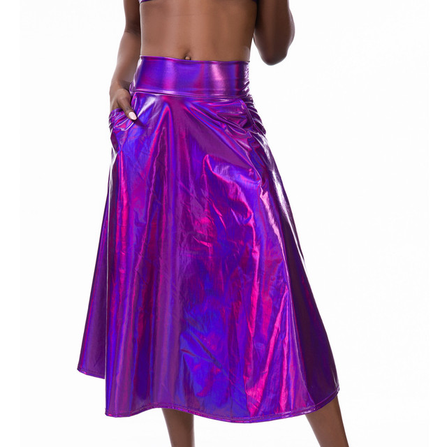 Women Mid Calf Skirts Shiny Holographic Pu Laser A Line Wet Look Loose Skirts With Pocket Summer Party Club Lady Chic Skirt #Z4 3