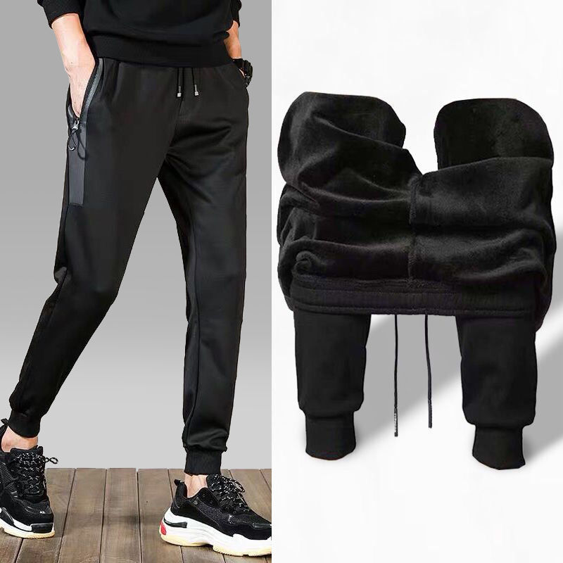 Men's Plus Size M-5XL Winter Warm Pants Outside Fleece Joggers Thicken Sweatpants Heavy Zipper Trousers Men Loose Sweat Pants