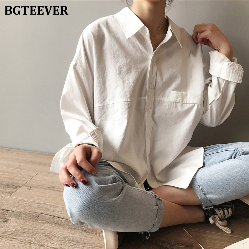 BGTEEVER Minimalist Loose Cotton White Shirts For Women Turn-down Collar Solid Female Shirts Tops 2020 Spring Summer Blouses